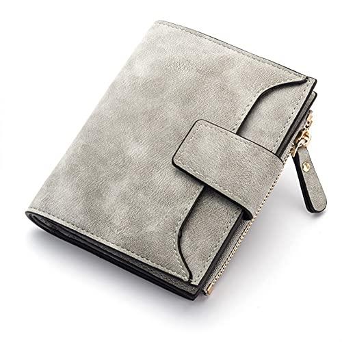 Cartera de cuero para mujer, con cierre pequeño y delgado, monedero para mujer, carteras y tarjetas, carteras (color: gris)