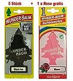 Wunderbaum 5 Stück Black Ice Wunder-Baum Lufterfrischer Duftbaum Original inkl. 1 x Gratis Rose (Black Ice)