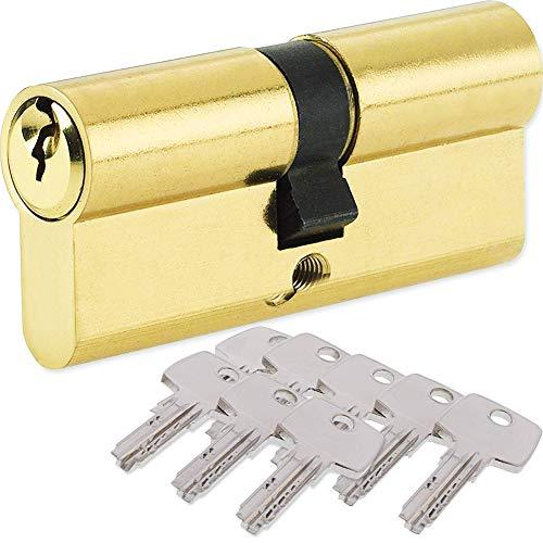 BETOY - Cilindro per porta con pomello serratura con chiave,con chiave, Oro, elemento sostitutivo resistente al trapano, disponibile in ottone e niche