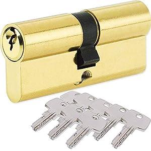 BETOY Cilindro cerradura, Cilindro de Alta Seguridad, Leva Larga, Llave - Llave, Latonado, 32.5/32.5(65mm) Cilindro de doble vuelta para puertas/entradas exteriores