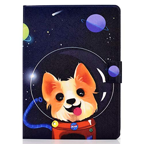 Unichthy Case For Samsung Galaxy Tab S6 Lite 10.4 Inch Tablet 2020 Release Model SM-P610 (Wi-Fi) SM-P615 (LTE) Cute Patterned Shockproof Case with Anti-slip Stand 2 Card Slots Cover 2020 Space Dog