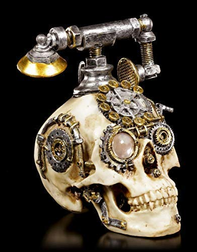 Figuren Shop GmbH Gothic Steampunk Totenkopf Telefon - Dead Ringer | Fantasy Deko-Artikel, Handbemalt