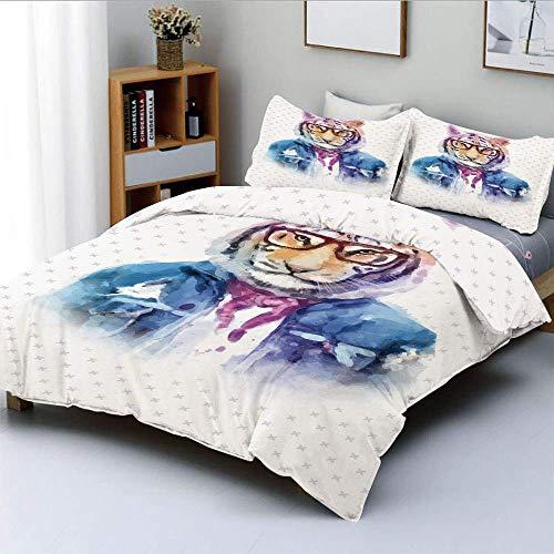 Popun Bettbezug-Set, Intellektueller Tiger mit zerrissener Jeansjacke und Brille Aquarell-Kunstwerk Dekoratives dekoratives 3-teiliges Bettwäscheset mit 2 Kissenbezügen, Mehrfarbig