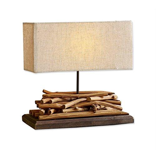 Loberon Tischlampe Caribou, Paulowniaholz, Leinen, Baumwolle, H/B/T 39/40 / 15 cm, braun/leinen, E27, max. 60 Watt, A++ bis E
