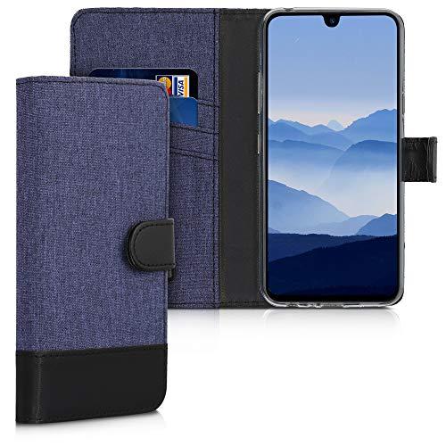 kwmobile Wallet Hülle kompatibel mit LG K50 - Hülle mit Ständer - Handyhülle Kartenfächer Dunkelblau Schwarz