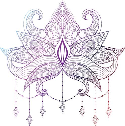 EW Designs Pretty Hipster Pink Purple Ombre Lotus Mandala Henna Flower Vinyl Decal Bumper Sticker (4' Tall)