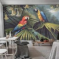 3D写真森オウム手描き油絵レトロモダンなリビングルーム寝室ソファテレビ背景壁壁画壁紙-250x175cm