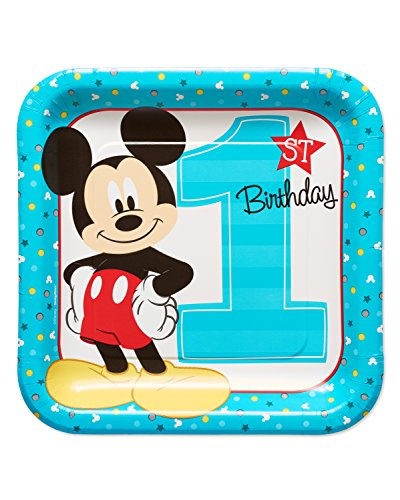 American Greetings 5795244 Mickey Mouse First Birthday Dinner/Lunch Plates, 8-Count
