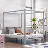Metal Canopy Bed, Queen Size Canopy Bed with Built-in Headboard. (Silver)