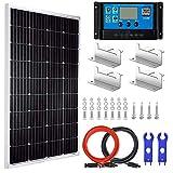 Pikasola 100 Watt 12V Solar Panel Kit for Off Grid RV Boat: 100W Monocrystalline Solar Panel Grade A + 20A LCD Solar Charge...