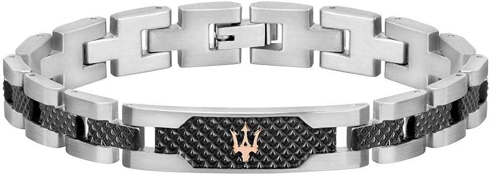 Maserati collezione jewels bracciale da uomo, acciaio,pvd grigio, pvd oro rosa JM419ASC01