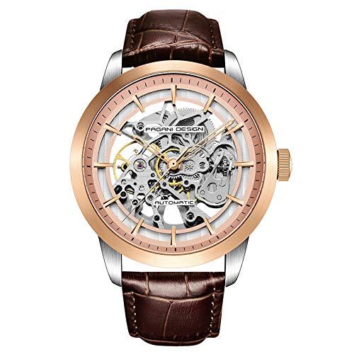 Pagani Design Reloj de Hombre Movimiento Japonés Dial Esqueleto 30M Impermeable Correa de Cuero Genuino Caja de Acero Inoxidable & Hebilla Reloj de Pulsera para Hombre