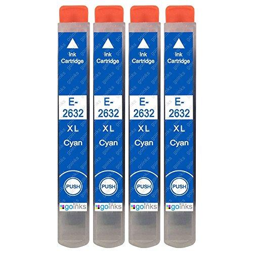 4 Go Ink - Cartucce d'inchiostro ciano per sostituire Epson T2632 (26XL) compatibili/non OEM per stampanti Epson Expression Premium