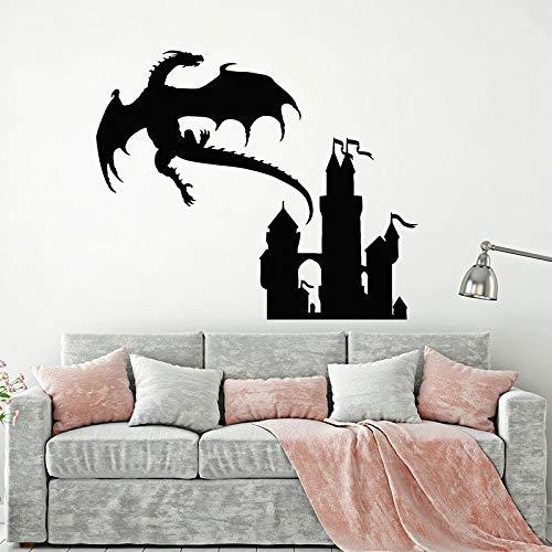 Calcomanía de pared de cuento de hadas dragón volador princesa Castillo vinilo ventana pegatinas niños dormitorio guardería decoración Interior Mural