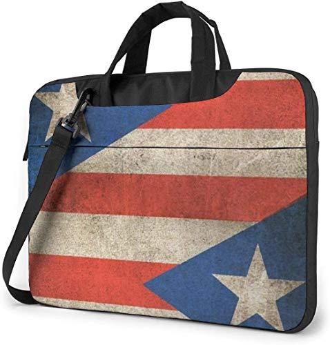 Retro Puerto Rico Flagge Stoßfest Laptop Schulter Menger Tasche Laptop-Tasche Hülle Laptop Aktentasche Busin Handtasche