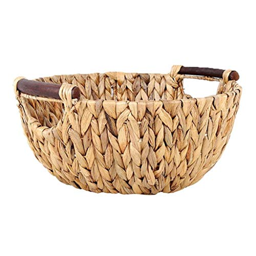 COLiJOL Fruit Bowl Hand-Woven Kitchen Storage Basket round Polyrattan Weaved Large Capacity Housewares Storage Fruit and Other Produce Fruit Basket (Size : 32 * 19 * 15Cm),32*19*15Cm,32*19*15Cm