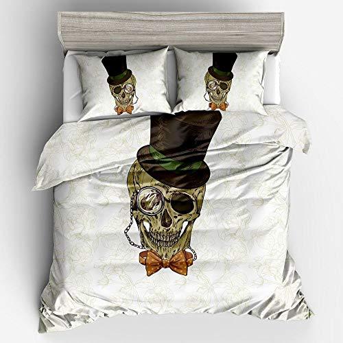 BH-JJSMGS Superfine polyester fiber digital printing 3D flower skull duvet cover and pillowcase, hat 135 * 200