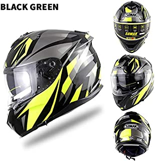 EDTara Motorcycle Racing Helmet Outdor Riding Helmet Men and Women Motorcycle Helmet Double Lenses Compatiable with Glasses Safe ECE Standard Helmet Motorcycle Accessaries Shine XXL