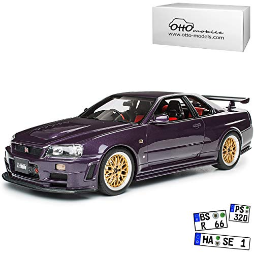 Nissan Skyline R34 GT-R Nismo Z-Tune Midnight Purple Goldene Felgen 1998-2002 Nr 811 1/18 Otto Modell Auto mit individiuellem Wunschkennzeichen