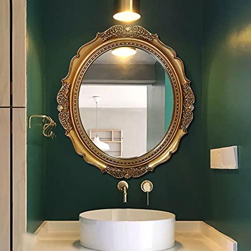 LBSI Bathroom Mirror, Espejos Decorativos de Pared Vintage, Espejo de Baño de Entrada, Espejo Colgante de Pared Tallado 40 * 35cm(16 * 14in), 78 * 68cm(31 * 27in)