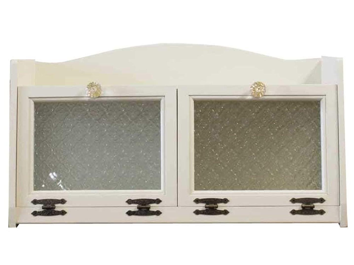 標高カロリーチューリップパンケース 側板フローラガラス入り w60d25h32cm アンティークホワイト パンプキンノブ 真鍮 ダブルブレッドケース 木製 ひのき 受注製作