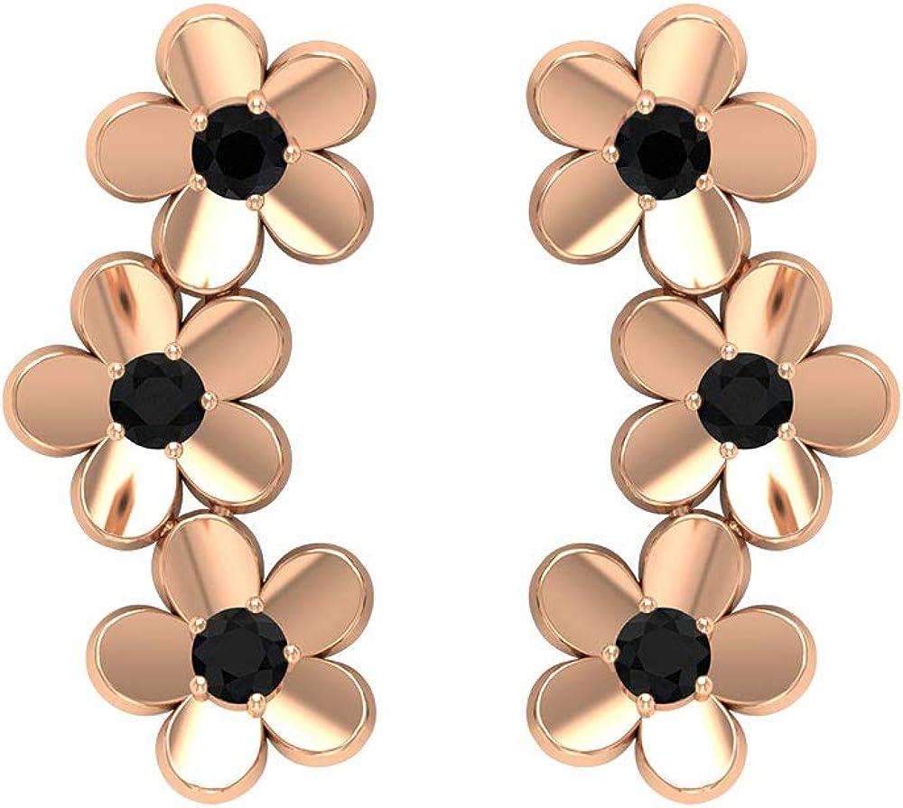 Floral Climber Earrings, Flower Wedding Earrings, HI-SI 1/4 CT Black Diamond Earrings, Crawler Earrings, Anniversary Cuffs, Cartilage Piercing Earring, Screw Back