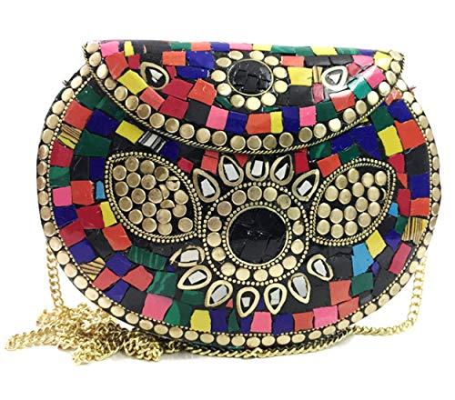 Gauri Bolso de metal mosaico bolso de piedra embrague étnico indio antiguo bolso fiesta embrague bolso de las mujeres