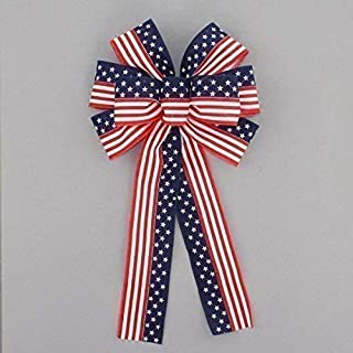 """Stars and Stripes Flag Patriotic Bow - 9"""" wide"""