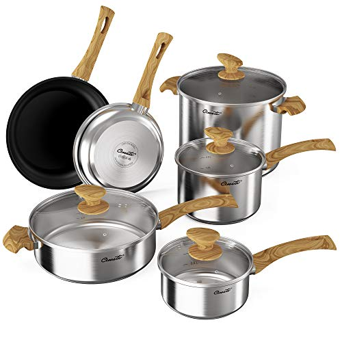 Ciwete Professional 18/10 Stainless Steel Induction Cookware Set, 10-Piece Pots and Pans Set with Wood-Like Handles, Impact Bonded 3-Ply Base