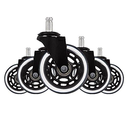 hjh OFFICE 729404 bureaustoelwielen voor harde vloeren ROLO SKATE 11 mm / 75 mm zwart/transparant (5 stuks) speciale wielen
