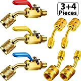 7 Pieces Air Conditioning Refrigerant Angled Compact Ball Valve 1/4 Inch SAE for R410A R134A R12 R22 AC HVAC and R410A Adapter 5/16 Inch SAE Female to 1/4 Inch SAE Male Flare for Mini Split System