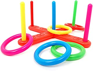 iZHH Hoop Ring Toss Plastic Ring Toss Quoits Garden Game Pool Toy Outdoor Fun Set New