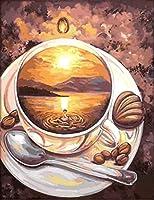 事前に印刷されたクロスステッチ刺繡キット11CTDIYコーヒーカップビジュアルアーツ大人のリビングルーム寝室初心者クロスステッチ装飾16x20インチ