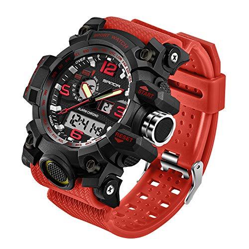 Taffstyle Herren-Armbanduhr Digital mit Silikon-Armband Chronographen Wasserdicht Stopp Alarm Flieger Piloten Uhr Sportuhr Quarz Rot
