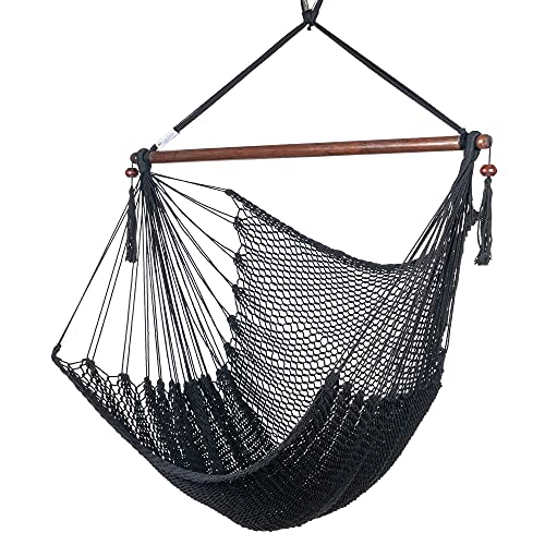 Caribbean Hammock Chair with Footrest - 40 inch - Soft-Spun Polyester - (Black)