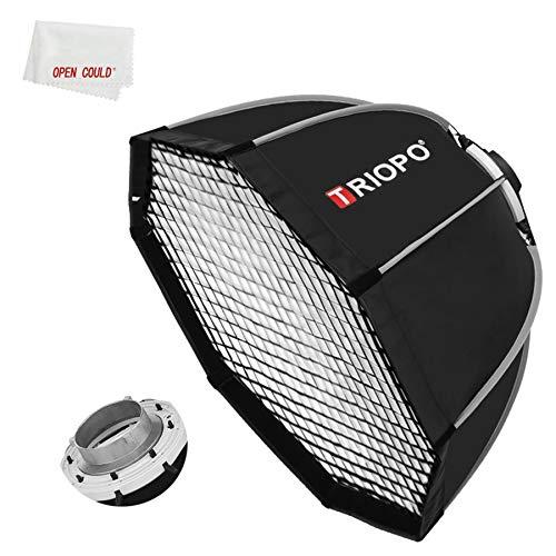 Triopo - Portafotos de 90 cm, diseño de Bowens Mount Octagon Umbrella Softbox Quick Instalación Softbox + Honeycomb Grid para estudio de fotografía estroboscópica al aire libre (90 cm)
