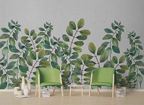 Papel Pintado Pared 3D Acuarela Hojas Verdes Fotomurales Decorativos Pared Decoración Mural Pared