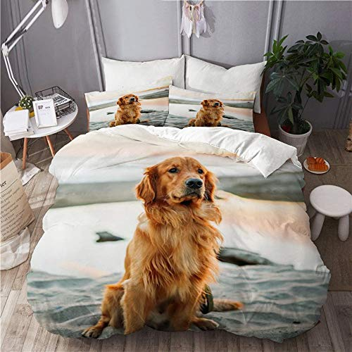 JOSENI bedding-Duvet Cover Set,Golden Hair Yellow Golden Retriever Dog Sitting On The Beach by The Sea,Microfibre 230x220 with 2 Pillowcase 50x80,King