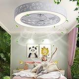 Ouuily Fan Plafoniera 40W Creativa Moderna Plafoniera LED Dimmerabile Ventilatore a Soffitto con Illuminazione e Telecomando per Camera da Letto,Soggiorno,B