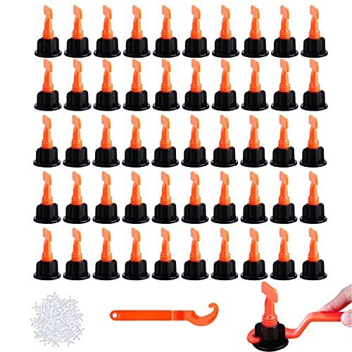 252 Stück Fliesen Nivelliersystem, Abstandshalter Fliesenausgleichssystem Verlegehilfe Wiederverwendbar Fliesen Spacer Leveler für Bau Fußboden Wände, 50+200+2 Stk.