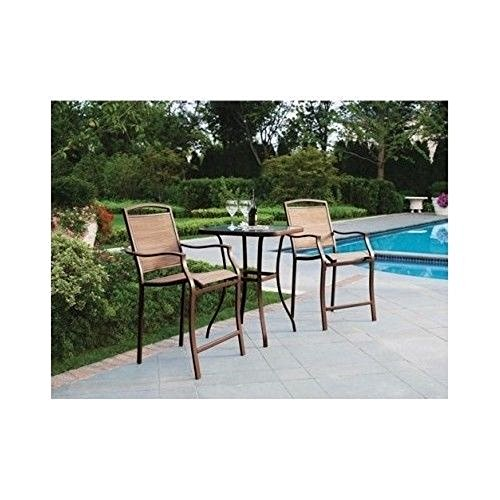 3 Piece Bar Height Bistro Table Chair Set Patio Furniture