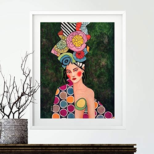 Geiqianjiumai Carteles e Impresiones escandinavos Flores Moderno Retrato de niña Lienzo de Arte de Pared para Sala de Estar decoración del hogar escandinavo Pintura Pintura sin Marco 40x50 cm