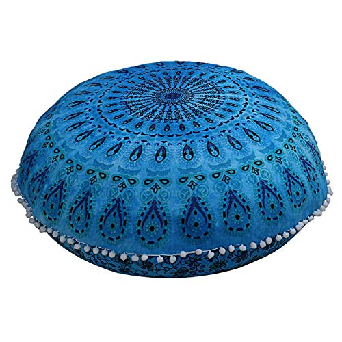 Radhy Krishna Moda 32'Indio Turquesa Suelo Almohada cojín Asiento Funda Mandala Hippie Decorativo Bohemio Boho otomano pufs, pompón Fundas de Almohada