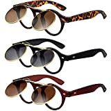 3 Pairs Flip Up Sunglasses Retro Round Goggles Steampunk Sunglasses for Party