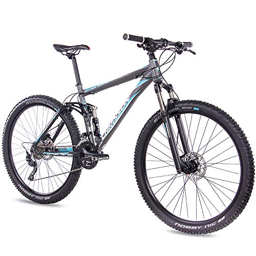 Chrisson Fully Hitter FSF - Bicicleta de montaña (29 pulgadas, suspensión completa, cambio Shimano Deore de 30 velocidades, horquilla Rock Shox), color gris y azul