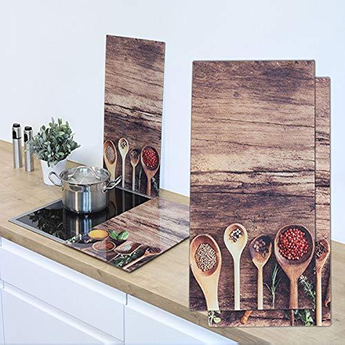 2er Set Herdabdeckplatten aus Glas ' Chili ' Küchenbrett Abdeckplatten Glasbrett Schneidbretter Servierplatte