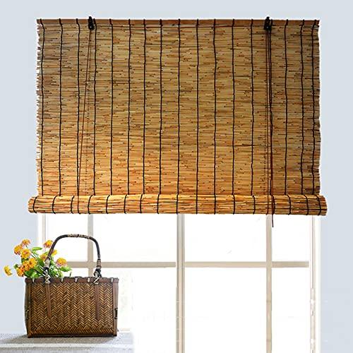 Bamboe Rolgordijnen/Binnen en Buiten Natuurlijke Riet Blinds/Heffen Decoratieve Roll-up Rolluiken/Zonbescherming Vochtbestendige Oprolbaar Accessoires/Aanpasbaar Jaloezieën (81x180cm/32x71in)