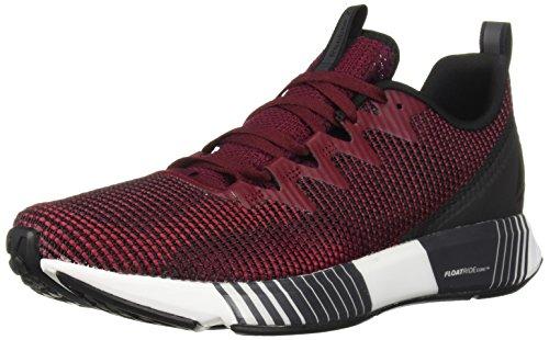 Reebok Men's Fusion Flexweave Running Shoe, Black/Rustic Wine/Cranberry, 12 M US