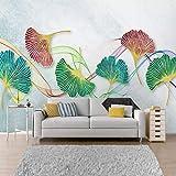 papel pintado pared 3d fotomurales Fleece Tela no tejida papel de pared moderno de decorativos murales pared 250x175cm Acuarela ginkgo leaf line dormitorio fondo pintura