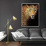 ganlanshu Arte Moderno de la Pared impresión de Carteles búho Tigre Caballo Leopardo Lienzo decoración del hogar,Pintura sin marco-30X40cm
